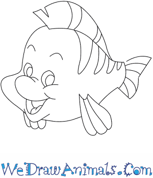 How to Draw  Flounder From The Little Mermaid in 7 Easy Steps