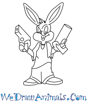 How to Draw  Gangster Bugs Bunny From Looney Tunes in 12 Easy Steps