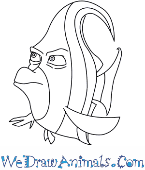 How to Draw  Gill From Finding Nemo in 7 Easy Steps
