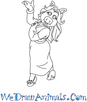How to Draw  Miss Piggy in 7 Easy Steps