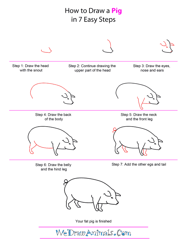 How to draw a pig quick step by step tutorial