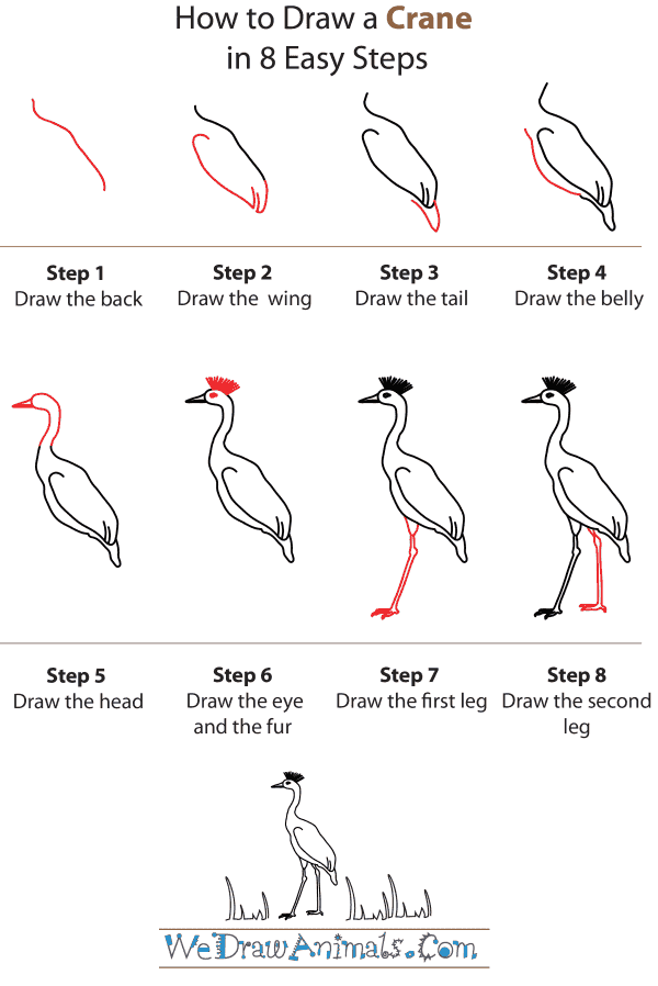 how to draw a crane step by step tutorial