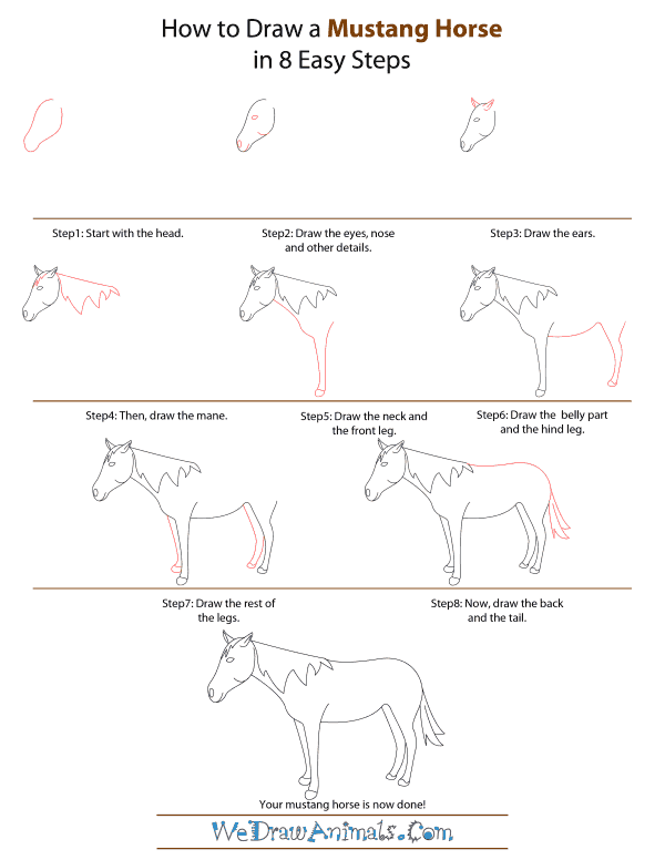 how to draw a mustang horse step by step tutorial