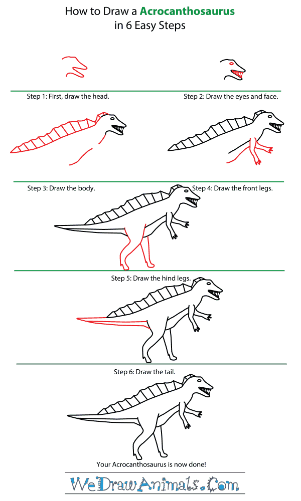 How to Draw an Acrocanthosaurus - Step-by-Step Tutorial