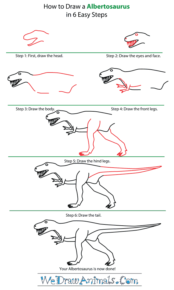 How to Draw an Albertosaurus - Step-by-Step Tutorial