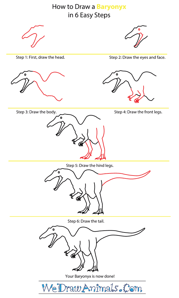 How to Draw a Baryonyx - Step-by-Step Tutorial