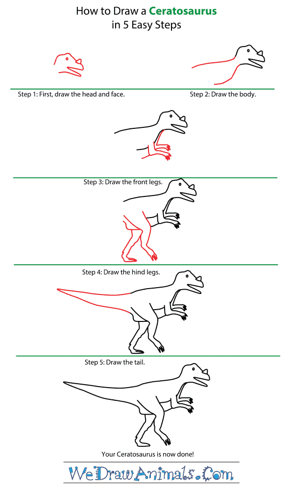 How to Draw a Ceratosaurus - Step-by-Step Tutorial