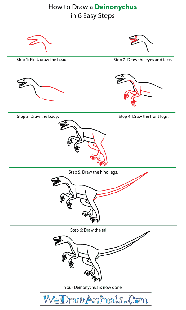 How to Draw a Deinonychus - Step-by-Step Tutorial