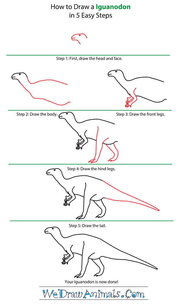 How to Draw an Iguanodon - Step-by-Step Tutorial