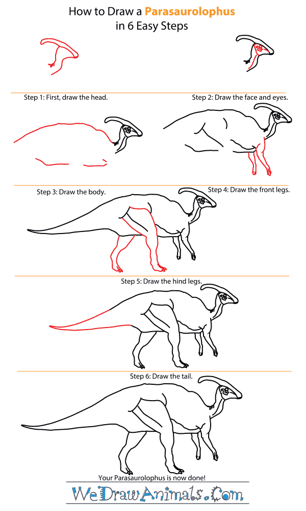 How to Draw a Parasaurolophus - Step-by-Step Tutorial