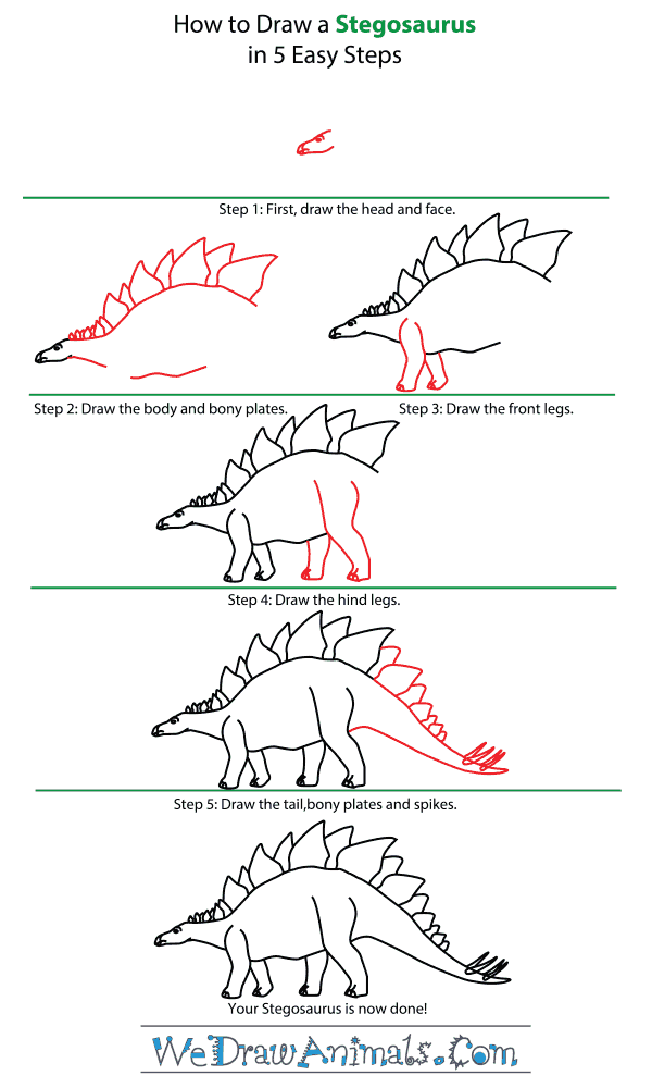 How to Draw a Stegosaurus - Step-by-Step Tutorial