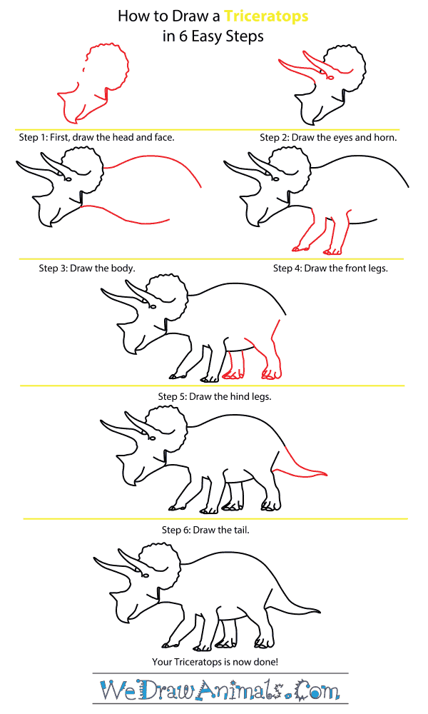 How to Draw a Triceratops - Step-by-Step Tutorial