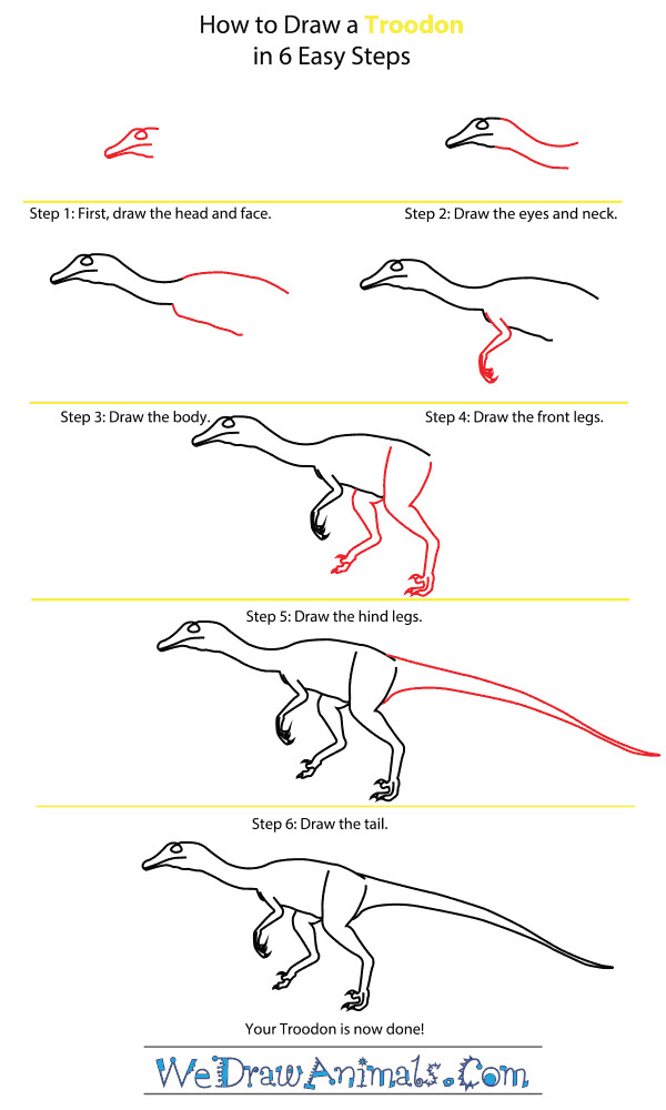 How to Draw a Troodon - Step-by-Step Tutorial