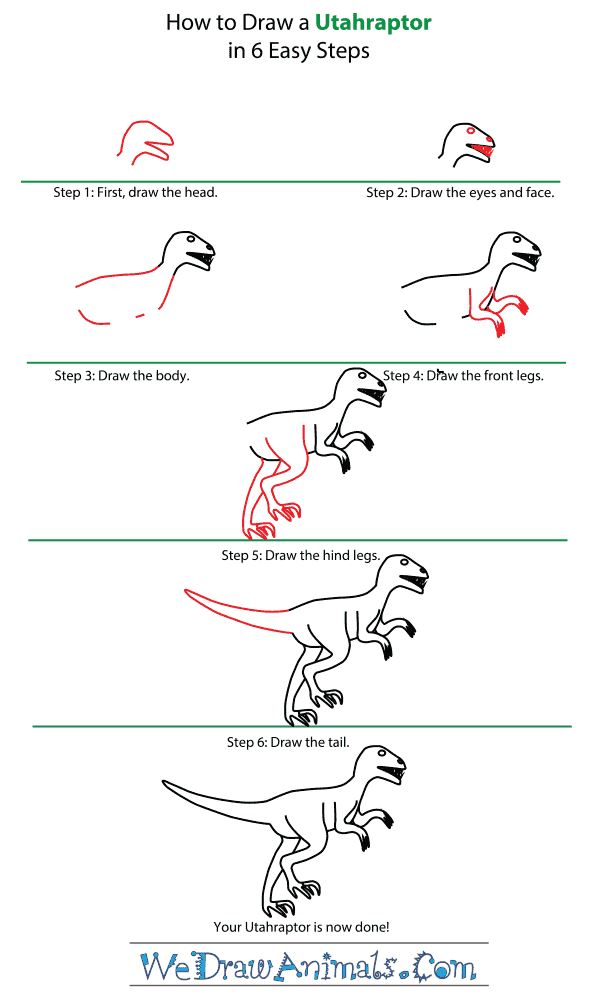 How to Draw an Utahraptor - Step-by-Step Tutorial