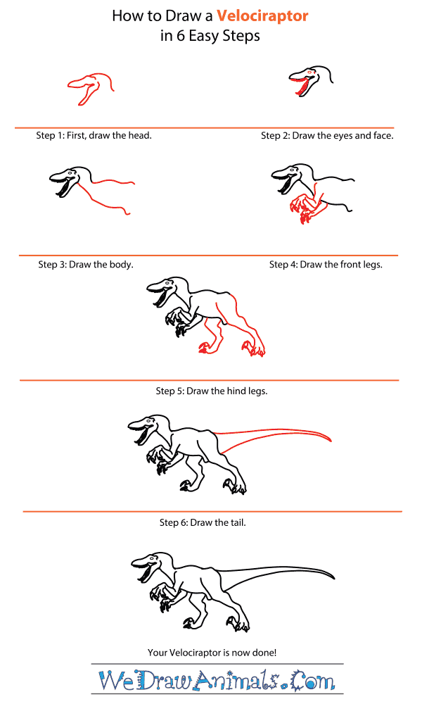 How to Draw a Velociraptor - Step-by-Step Tutorial