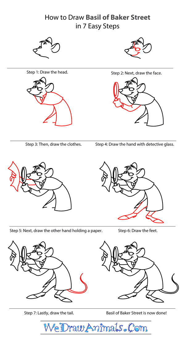 How to Draw Basil Of Baker Street - Step-by-Step Tutorial