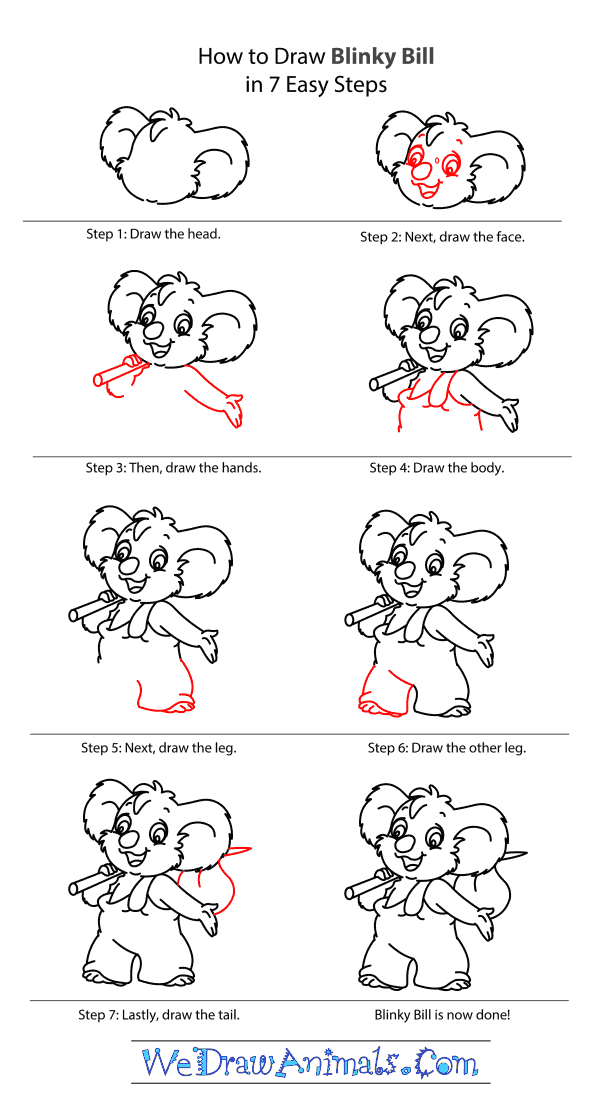 How to Draw Blinky Bill From The Adventures Of Blinky Bill - Step-by-Step Tutorial