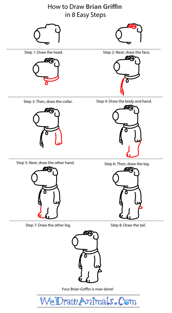 How to Draw Brian Griffin From Family Guy - Step-by-Step Tutorial
