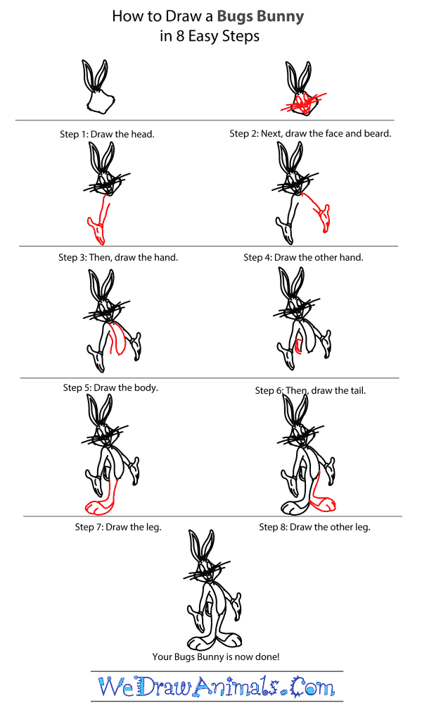 How to Draw Bugs Bunny - Step-by-Step Tutorial