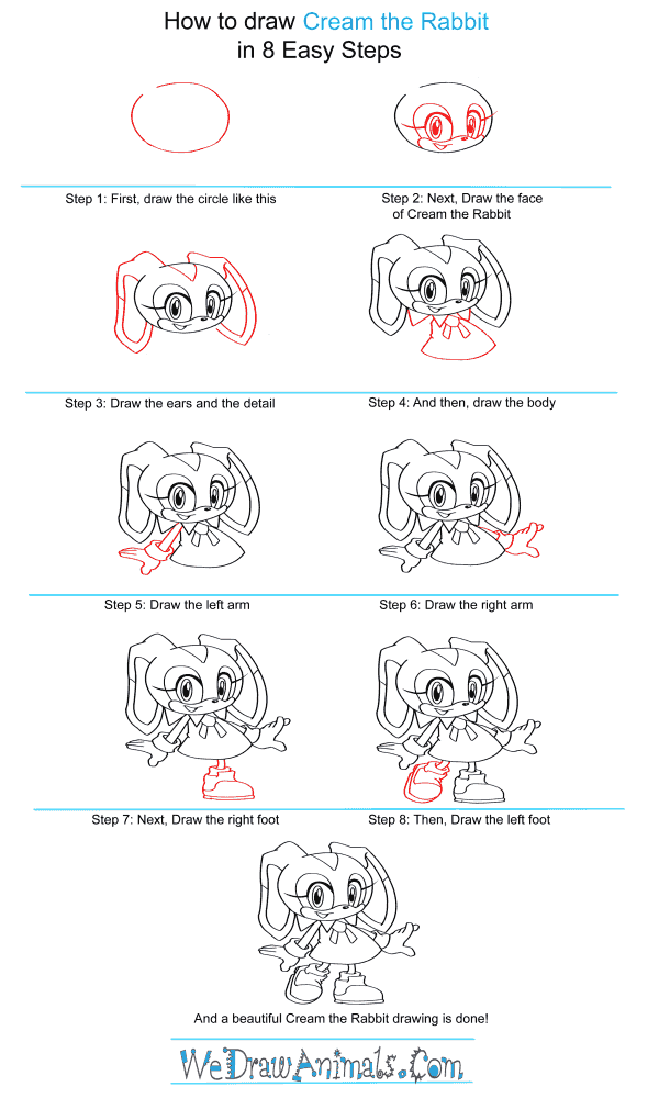 How to Draw Cream The Rabbit From Sonic The Hedgehog - Step-by-Step Tutorial