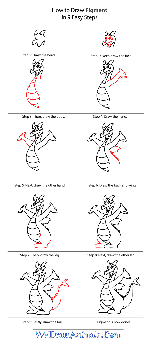 How to Draw Figment From Disney - Step-by-Step Tutorial