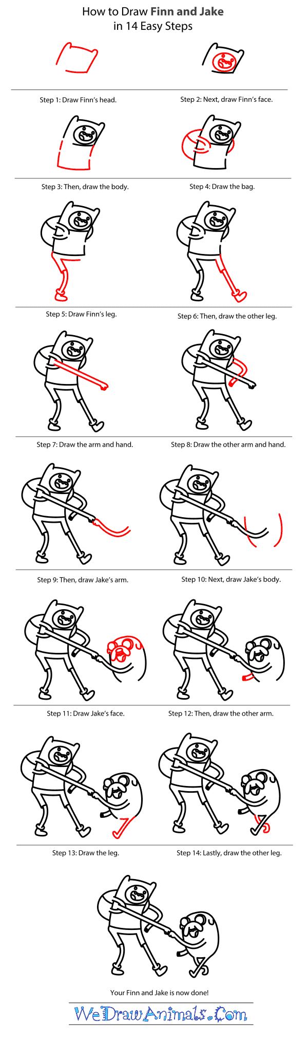 How to Draw Finn And Jake From Adventure Time - Step-by-Step Tutorial