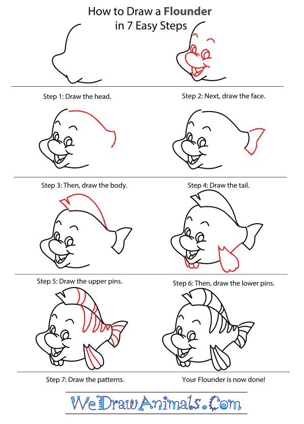 How to Draw Flounder From The Little Mermaid - Step-by-Step Tutorial