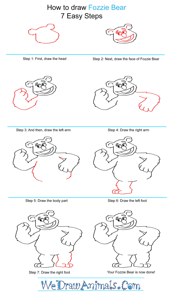 How to Draw Fozzie Bear From The Muppets - Step-by-Step Tutorial