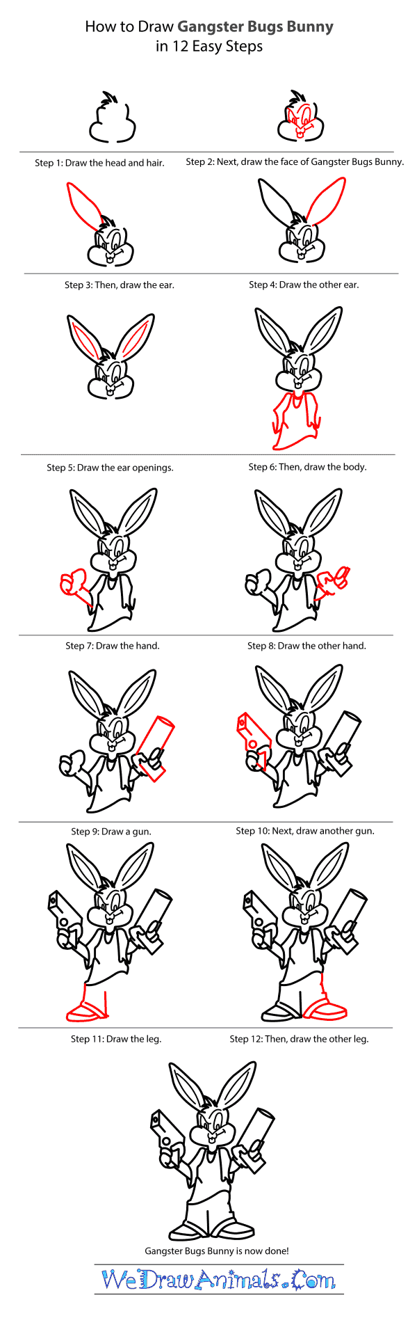 How To Draw Gangster Bugs Bunny From Looney Tunes Stepbystep Tutorial