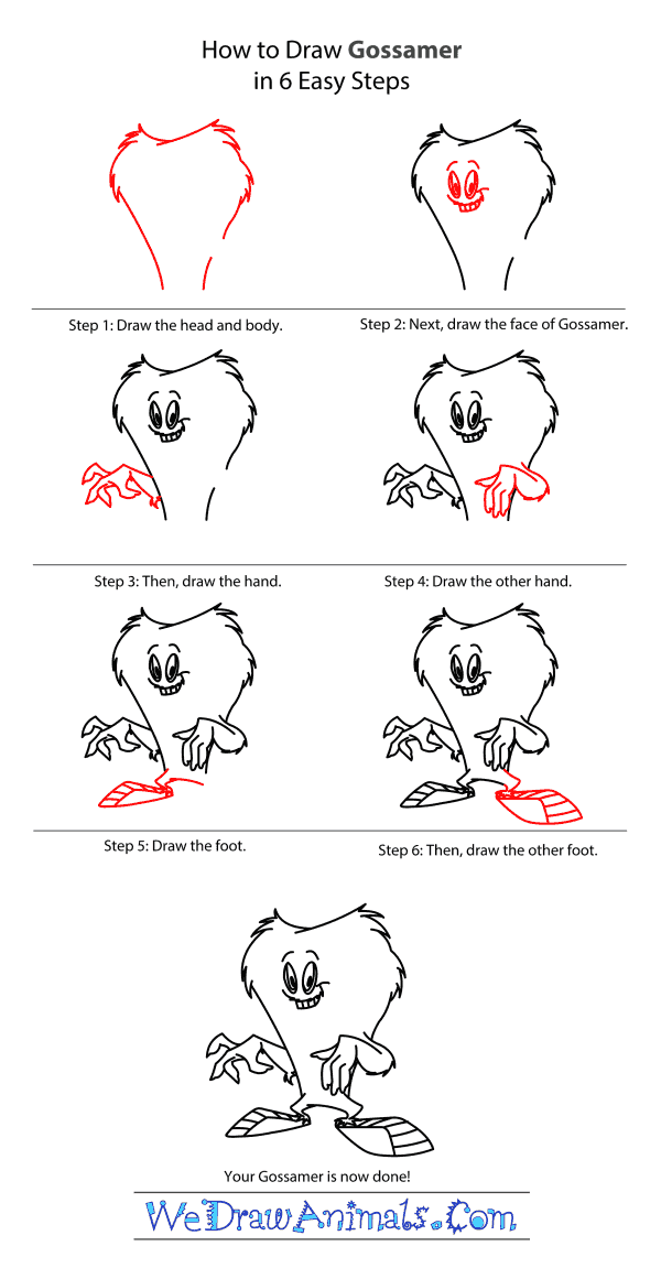How to Draw Gossamer From Looney Tunes - Step-by-Step Tutorial