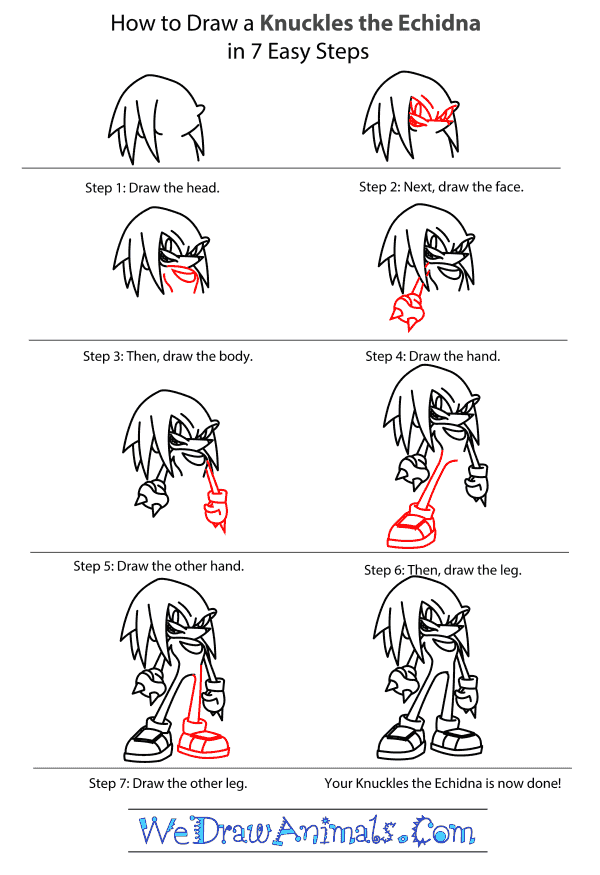 How to Draw Knuckles The Echidna - Step-by-Step Tutorial