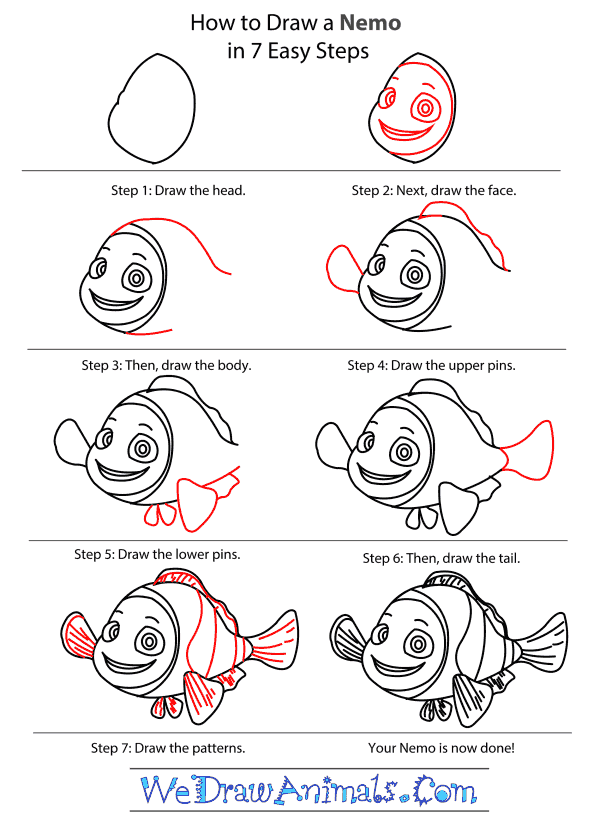 How to Draw Nemo From Finding Nemo - Step-by-Step Tutorial