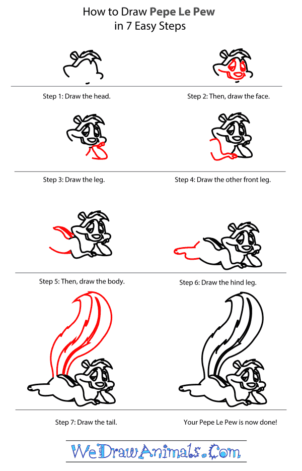 How to Draw Pepe Le Pew - Step-by-Step Tutorial