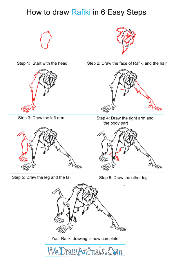 how to draw rafiki from the lion king step by step tutorial