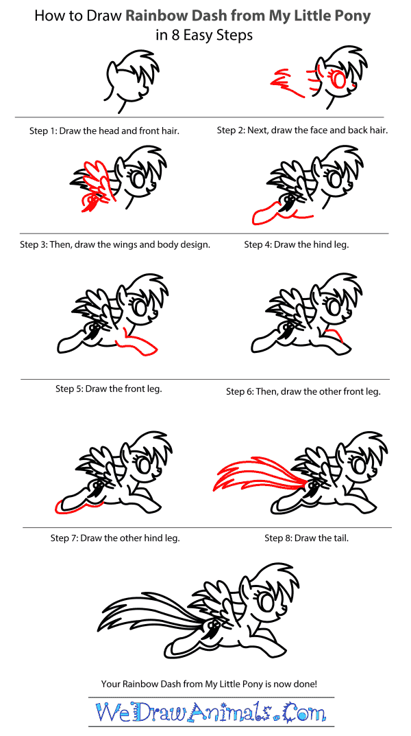 How to Draw Rainbow Dash From My Little Pony - Step-by-Step Tutorial