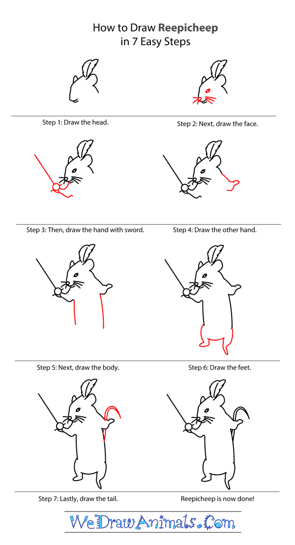 How to Draw Reepicheep From The Chronicles Of Narnia - Step-by-Step Tutorial