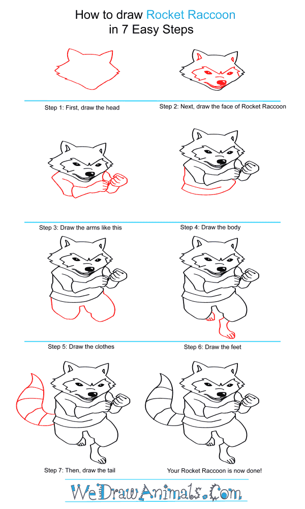 How to Draw Rocket Raccoon - Step-by-Step Tutorial