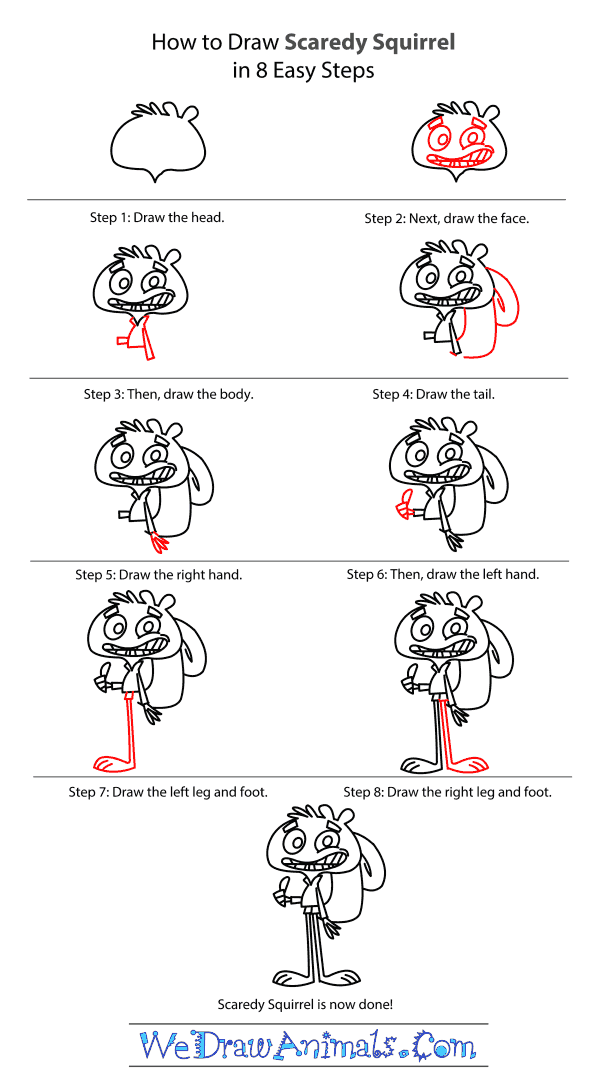 How to Draw Scaredy Squirrel - Step-by-Step Tutorial