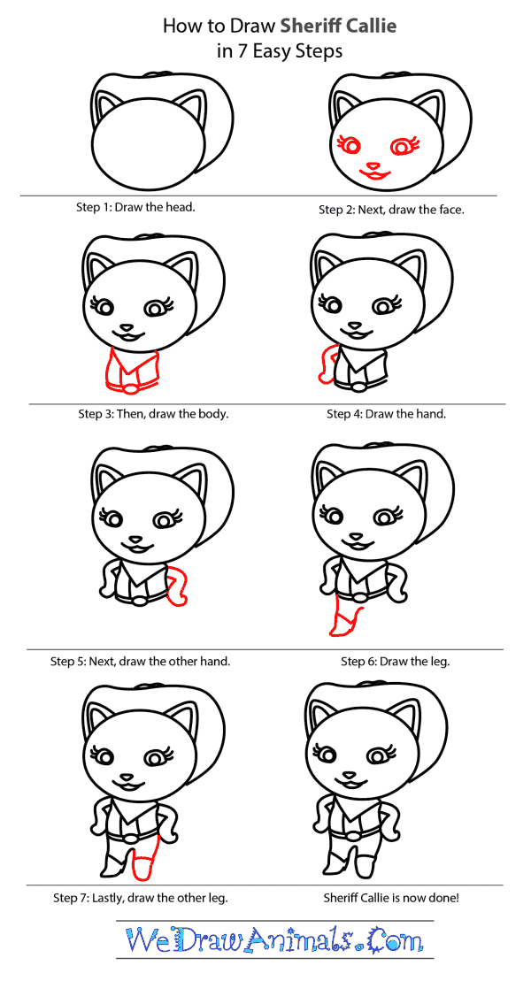 How to Draw Sheriff Callie From Wild West - Step-by-Step Tutorial