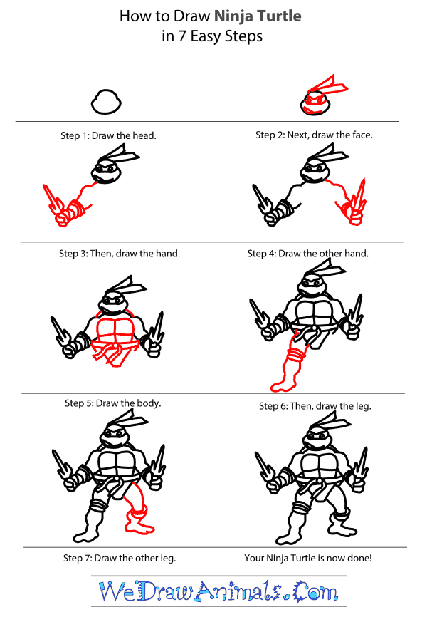 How to Draw The Ninja Turtles - Step-by-Step Tutorial