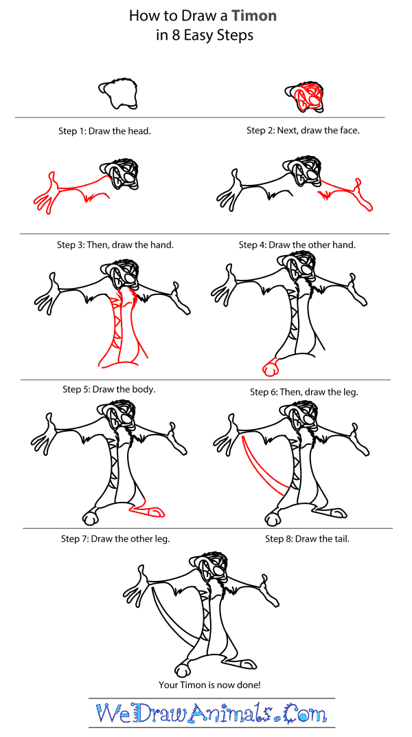 how to draw timon from the lion king step by step tutorial