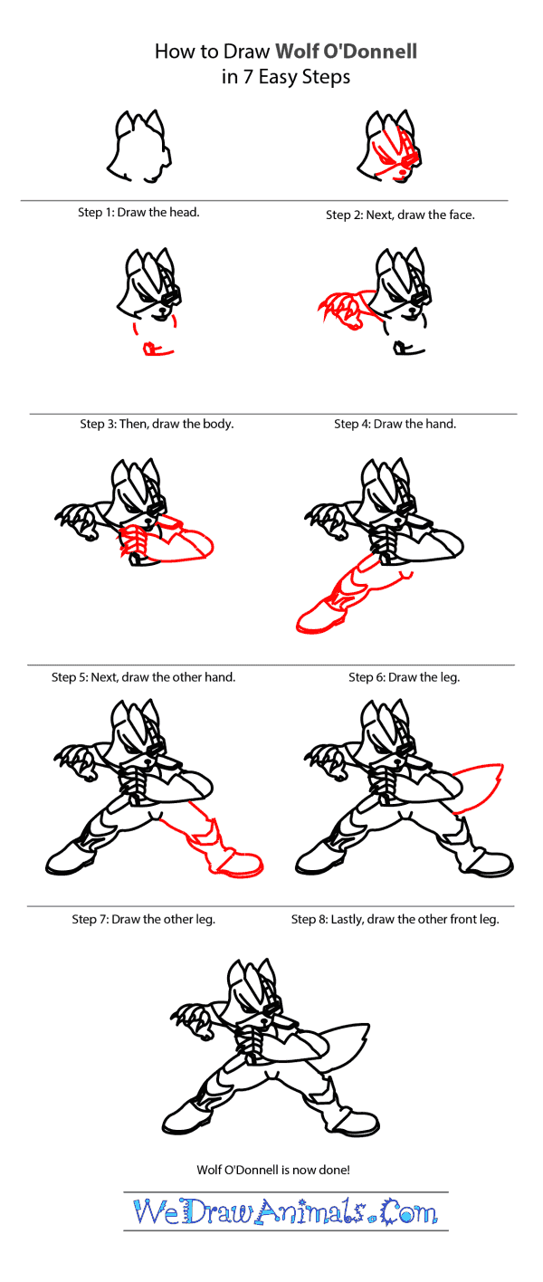How to Draw Wolf O'Donnell From Star Fox - Step-by-Step Tutorial