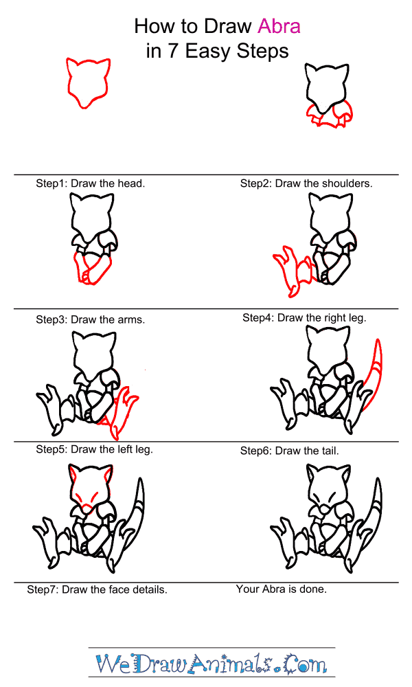 How to Draw Abra - Step-by-Step Tutorial