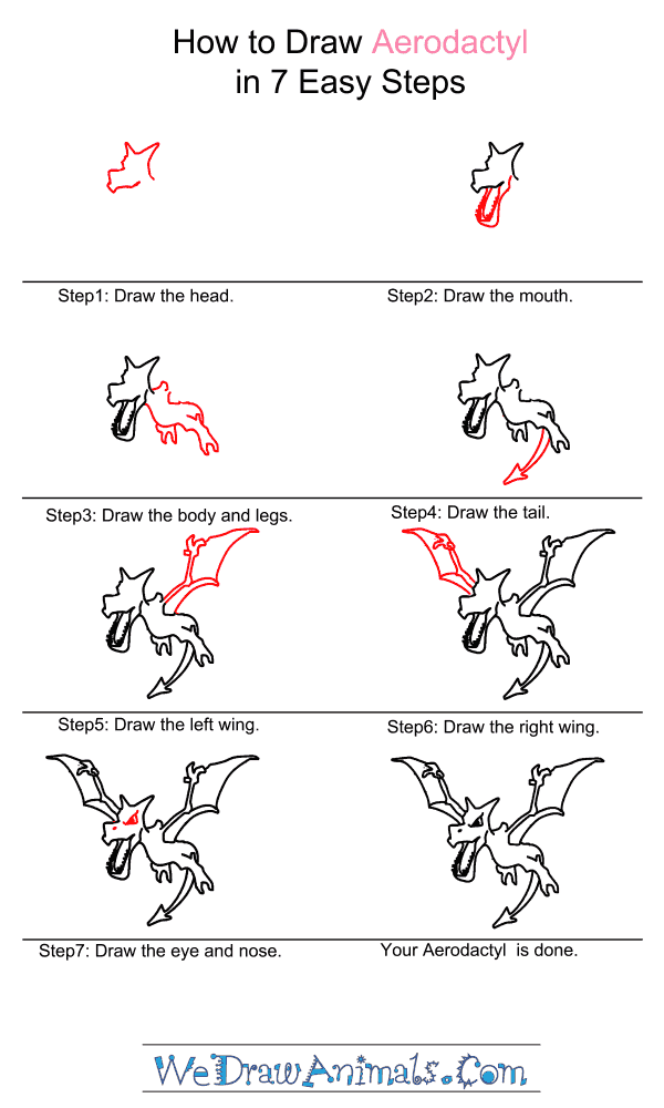 How to Draw Aerodactyl - Step-by-Step Tutorial