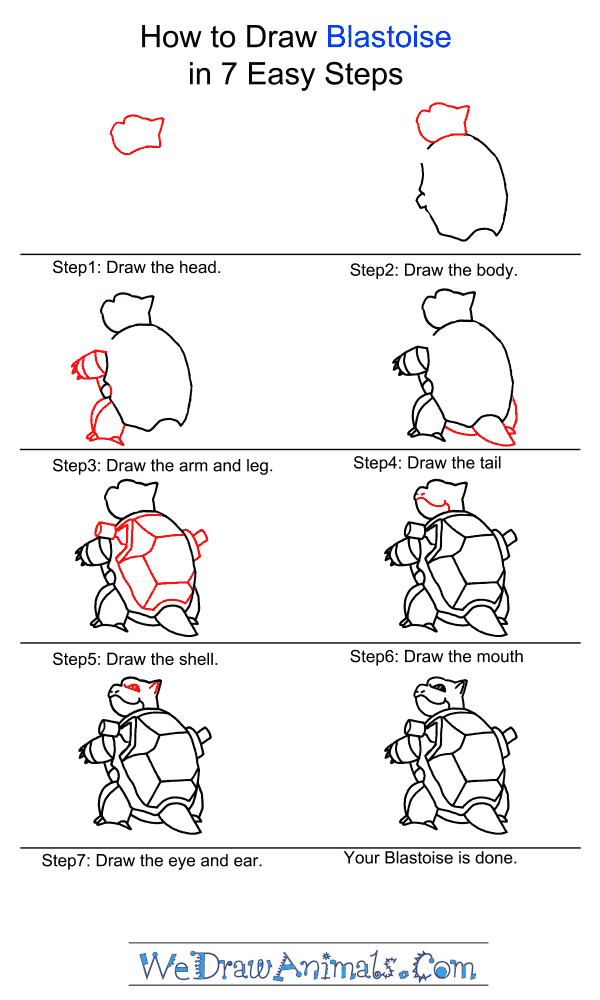 How to Draw Blastoise - Step-by-Step Tutorial