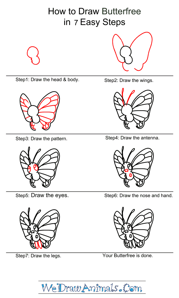 How to Draw Butterfree - Step-by-Step Tutorial