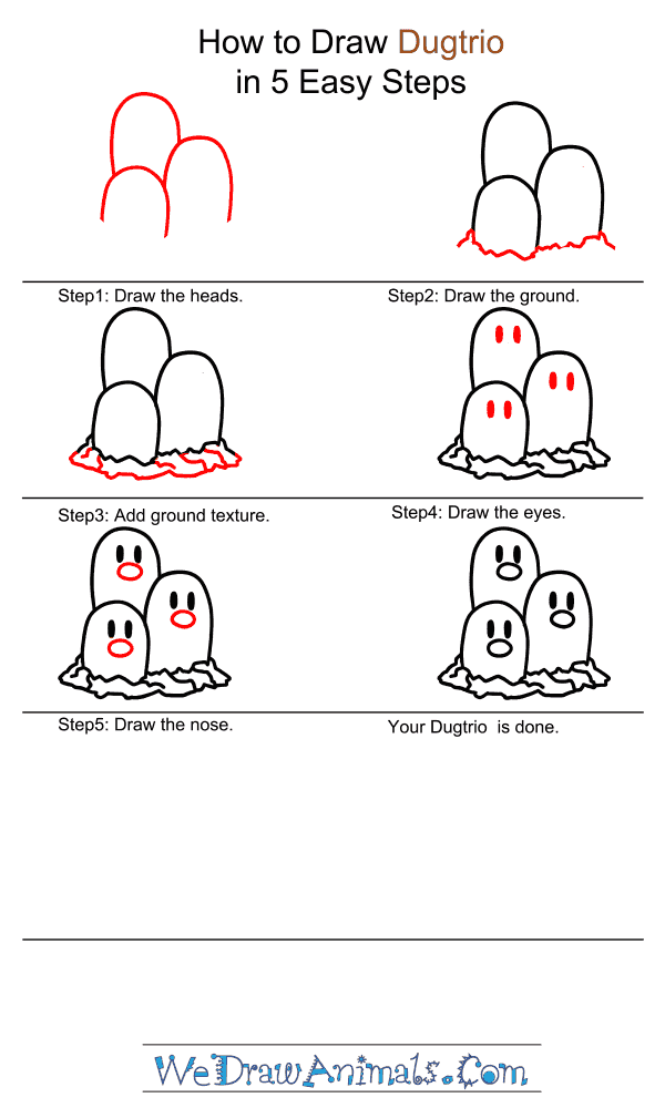 How to Draw Dugtrio - Step-by-Step Tutorial