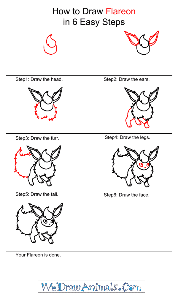 How to Draw Flareon - Step-by-Step Tutorial