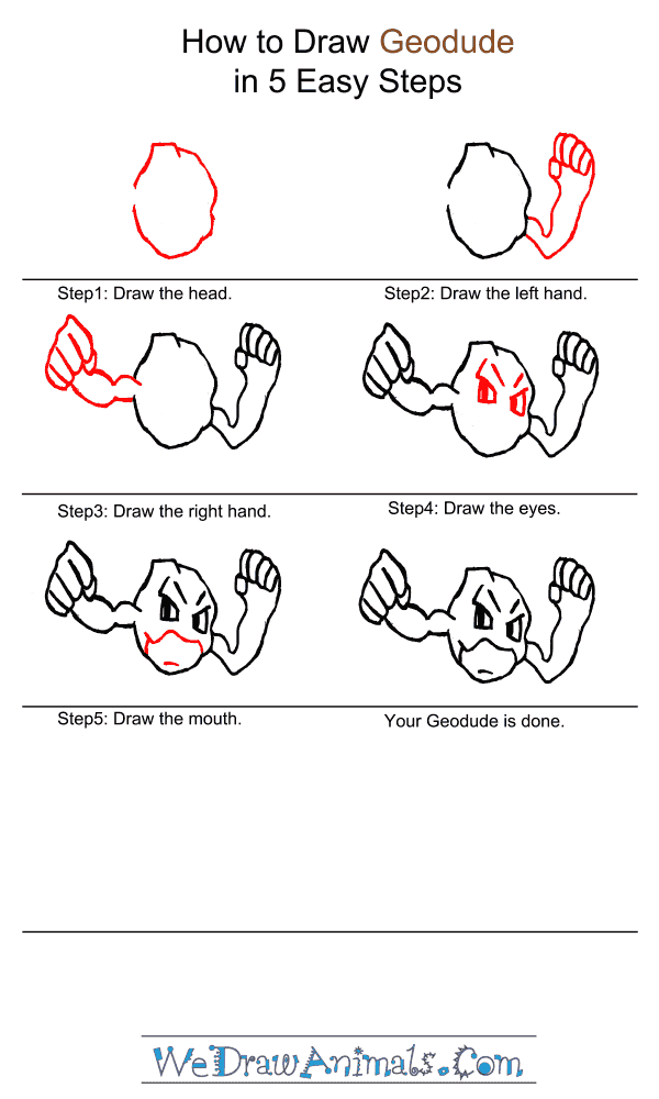 How to Draw Geodude - Step-by-Step Tutorial