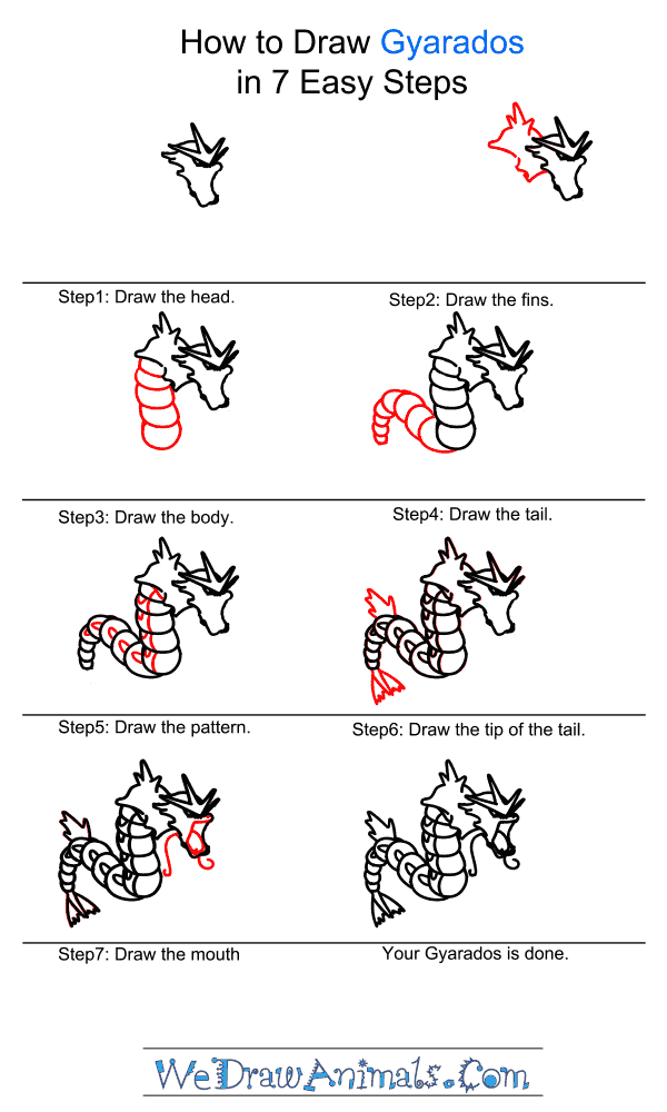 How to Draw Gyarados - Step-by-Step Tutorial